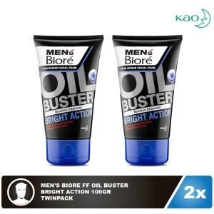 Men'S Biore Facial Foam Oil Buster Bright Action 100gr Twinpack