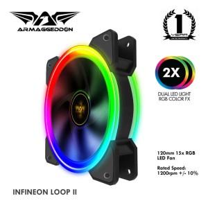Fan Pc Armaggeddon Infineon Loop II 2 Dual Led Light RGB Color FX