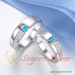 Cincin Kawin Cincin Nikah Perak Murni Original Ekslusif Blue Stone