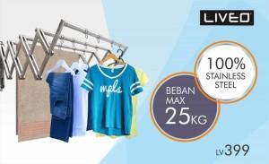 Liveo Jemuran Baju (Dinding) 4 Bars U-Shape / Steel (2 meter) LV 399