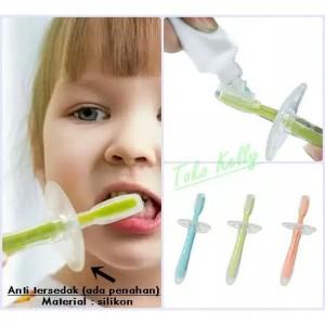 sikat gigi bayi Bahan silikon ada penahan tersedak