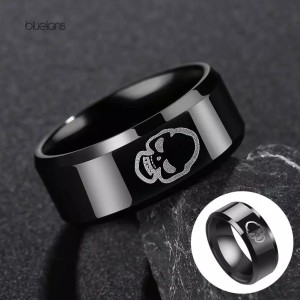 cincin motif Tengkorak Black Stainless steell