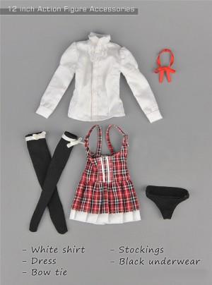 12 inch Action Figure Clothes 1//6 Scale White Nurse Dress Stockings Hat Set