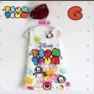DRESS ANAK SUKI11 TSUM TSUM WHITE