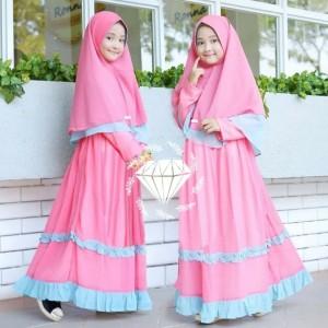 Lolyta Kids Syari 7-11thn Gamis Maxi Dress anak SD + Khimar ceruty - Biru