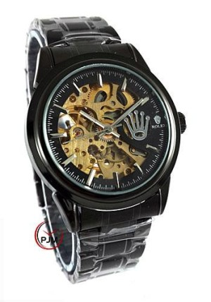 Rolex Skeleton Rantai Full Black Logo Samping
