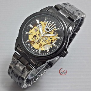 Jam Tangan Pria Rolex Skeleton Rantai Automatic Full Black