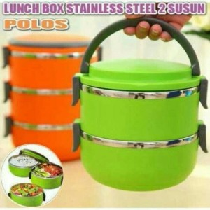 Misson Eco Lunch Box Stainless Steel Rantang 3 Susun Blue Bundling Source · Rantang Polos Susun