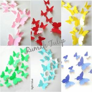 3D Wall Sticker Butterfly DIY, Hiasan Dinding, Stiker Kupu-kupu isi 12