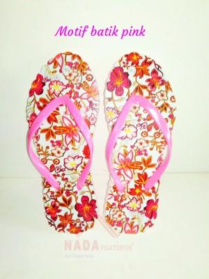 Sandal Jepit Wanita Motif Batik Pink/ Sendal kaki unik Special Edition