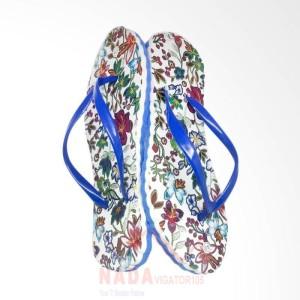 Sandal Jepit Wanita Motif Batik Biru/ Sendal kaki unik Special Edition