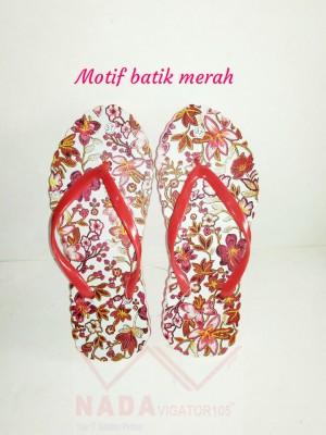 Sandal Jepit Wanita Motif Batik Merah/Sendal kaki unik Special Edition