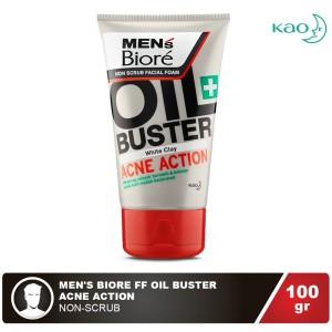 Mens Biore Facial Foam Oil Buster Acne Action 100gr