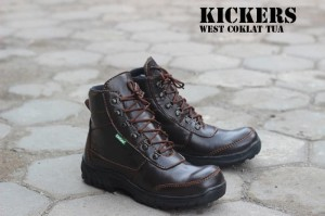 Sepatu Kickers Boots Safety West Coklat Tua