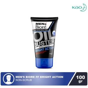 Mens Biore Facial Foam Oil Buster Bright Action 100gr