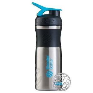 Blender Bottle SportMixer Shaker Stainless Steel Tumbler Black Cyan