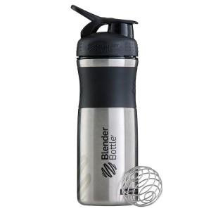 Blender Bottle SportMixer Shaker Stainless Steel Tumbler Black