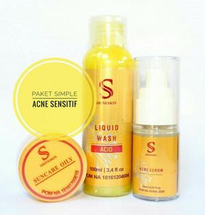 Shineskin paket hemat acne meradang sensitif/ komedo
