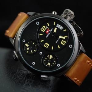 Jam Tangan Pria Swiss-Army-Tripletime-Kulit-Light-Brown