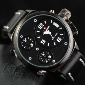 Jam Tangan Pria Swiss-Army-Tripletime-Kulit-Black