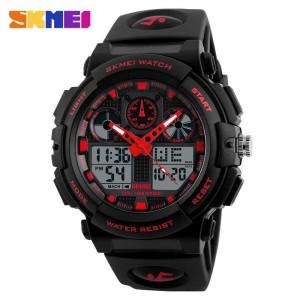 Jam Tangan Pria SKMEI Dual Time Sport LED Watch Original AD1270 Merah