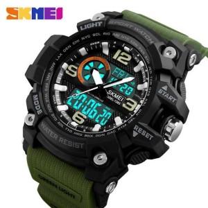 Jam Tangan Pria SKMEI Dual Time Sport LED Watch Original AD1283 Army
