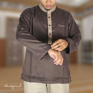 Baju Koko Busana Muslim Dewasa Syar'i Lengan Panjang Coklat IbnuSyamil