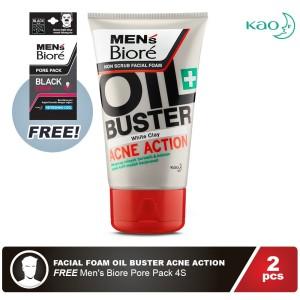 Men'S Biore Facial Foam Oil Buster Acne Action 100gr FREE Pore Pack