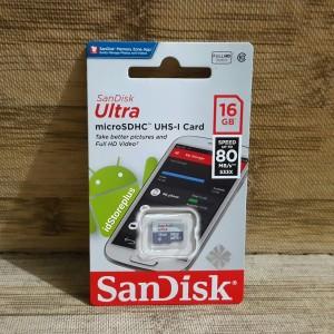 Memory Card Sandisk Ultra MicroSDHC UHS-I Card 16GB 80MBps Class10 ORI