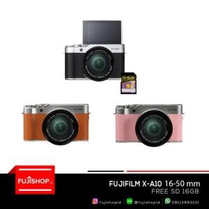 FUJIFILM X-A10 XA10 KIT 16-50mm + 16gb Resmi Fujifilm Indonesia 1th - Merah Muda