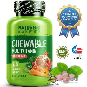 NATURELO - #1 Ranked - Chewable Multivitamin for Children - 60 tablets