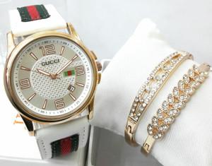 9d5a88daca061 Jual Jam Tangan Wanita Gucci White Paket Gelang Double - Tinevers id ...