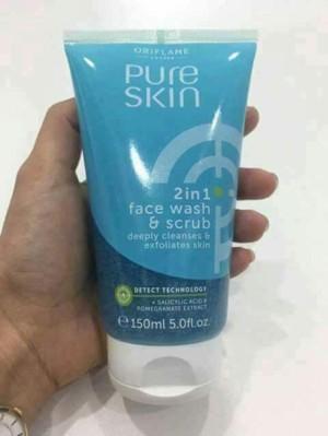 pure skin 2-in1 face wash & scrub
