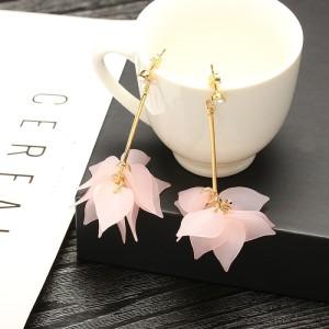 Korean Style Large Flower Earrings Metal Acrylic Scrub Flower Jewelry Decor 8C