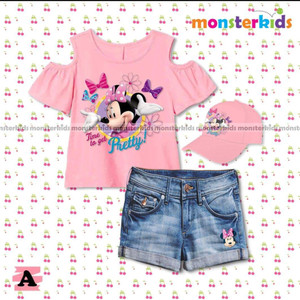 STELAN ANAK MONSTER KID5 3IN1 MICKEY PINK JEANS / BAJU FASHION ANAK