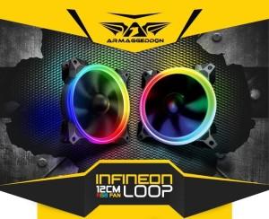 Infineon Loop 12cm RGB Light PC Cooling Fan Twin Pack By Armaggeddon