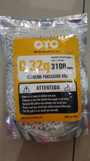 BB / Peluru amunisi plastik airsoft 6mm merk CYC 0,32