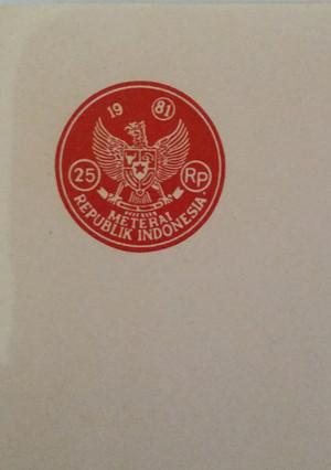 Kertas Materai Rp.25 Tahun 1981