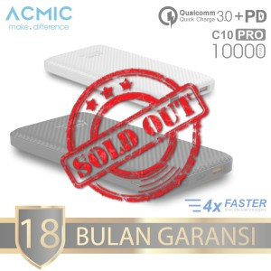 ACMIC C10PRO 10000mAh PowerBank Quick Charge 3.0 + PD Power Delivery - Putih