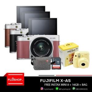 FUJIFILM X-A5 XA5 kit Lens XC 15-45mm + SD 16gb + Instax Mini 8 - Hitam