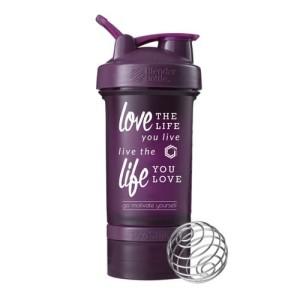 Blender Bottle Prostak Smart Shaker Gym Fitness Botol Love Life Plum