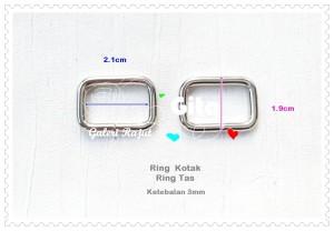 (2pcs) Ring Persegi 2.0cm ketebalan 3mm