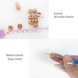 (12pcs) Manik-manik Kayu/Wood Beads 8mm