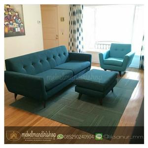 Set Kursi Sofa Tamu Retro Warna Biru