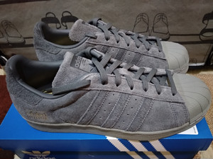 oben Adidas Superstar Grey Suede Size 42 Authentic Like New