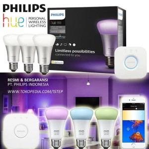 Philips Hue Starter Pack - 3 Lampu Bulb + 1 Bridge