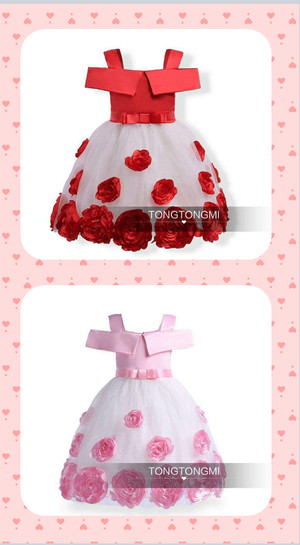 DRESS ANAK TONGMI WHITE FLOWER PINK - RED / DRESS PARTY ANAK