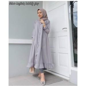 Velove Long Tunik Muslim - Warna Abu Bahan Balotelly - Imut - Feminine