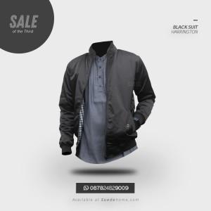 Black Suit Harrington | Jaket Casual Parasut Hitam Original Unisex