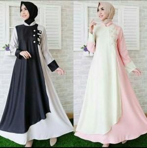 Estyle Dress/ Bahan Wolfis Halus/ Warna Kombinasi/ Feminine